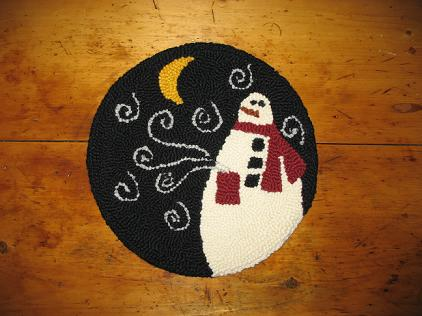 """Chilly Kit (14"""" Round)-Woolen Gatherings needle punch rug hooking patterns to compfort and inspire"""