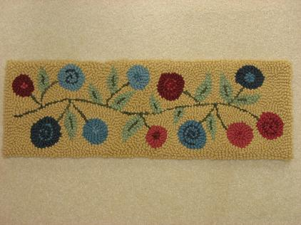 """Fence Row Blooms Kit (8"""" x 24"""")-Woolen Gatherings needle punch rug hooking designs to comfort and inspire"""
