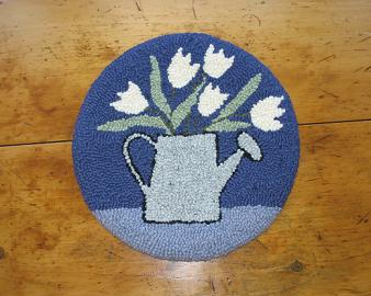 """First Blooms Kit (14"""" Round)-Woolen Gatherings needle punch rug hooking designs to comfort and inspire"""