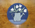 "First Blooms Kit (14"" Round)-Woolen Gatherings needle punch rug hooking designs to comfort and inspire"