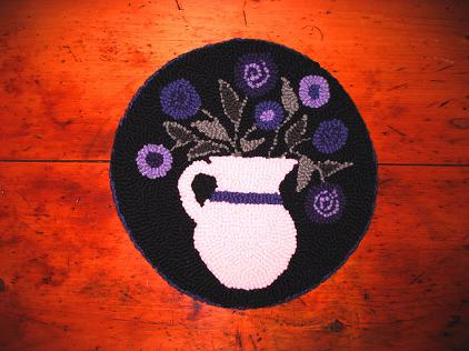 """(14"""" Round) From Grandma's Garden Kit-Woolen Gathering punch needle rug hooking designs to comfort and inspire."""