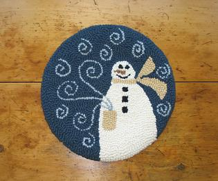 """Frosty Kit (14"""" Round)-Woolen Gatherings punch needle rug hooking designs to comfort and inspire."""