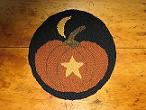 "Harvest Moon Kit (14"" Round)-Woolen Gatherings needle punch rug hooking patterns to comfort and inspire."