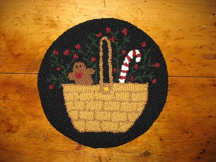 "Holiday Basket Kit (14"" Round)-Woolen Gatherings needle punch rug hooking patterns to comfort and inspire."