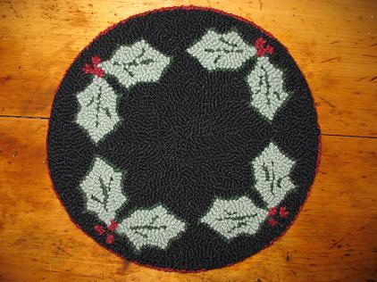 """Holly Berries Kit (14"""" Round)-Woolen Gatherings needle punch rug hooking patterns to comfort and inspire."""