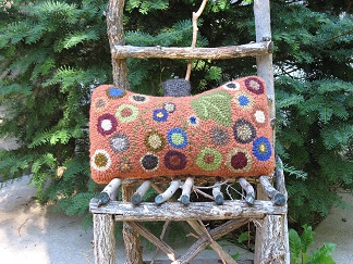 Penny Rue Pillow-Wool rug punching, folk art gifts, fall home decor