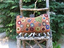 Penny Rue Pillow-Wool rug punching, folk art gifts, fall home decor