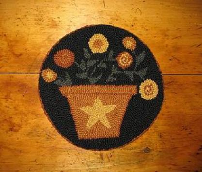 "Pot of Gold (14"" Round)-Woolen Gatherings needle punch rug hooking patterns to comfort and inspire."