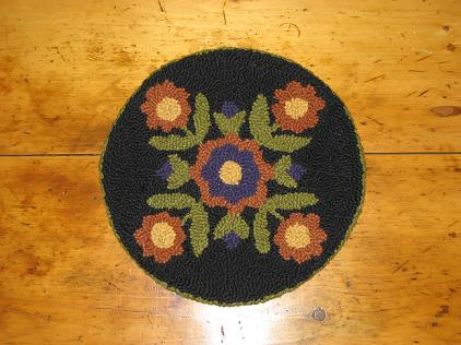 "Rusty Floral Four Square Kit (14"" Round)-Woolen Gatherings punch needle rug hooking patterns to comfort and inspire."