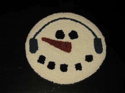 """Snowball Kit (14"""" Round)-Woolen Gatherings needle punch rug hooking patterns to inspire and comfort."""