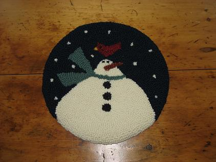 "Winter Friends Kit (14"" Round)-Woolen Gatherings needle punch rug hooking patterns to inspire and comfort."